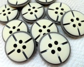 French Vintage Buttons - Classic Gray and Cream - LAST in Stock