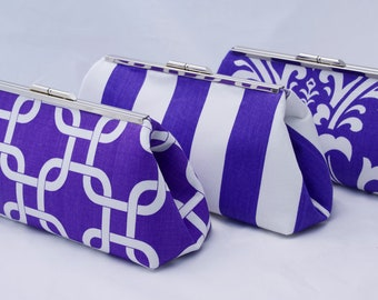 Purple Bridesmaids Gift Clutch Handbag Gift for Bridesmaids- Design your Own Wedding Party Gift in Various Fabrics