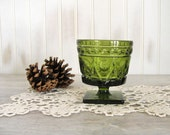 Green Glass Vintage Candy Dish, Evergreen Retro Footed Compote