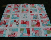 Instant Download PDF - Scrappy Initial Quilt PaTTERN - Baby or Lap Quilt - Patchwork Quilt - Fat Quarters - PDF