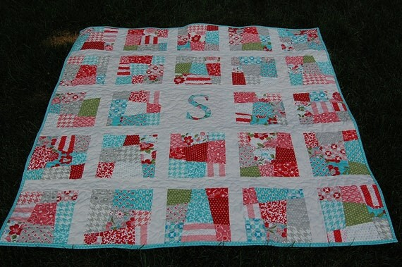 Scrappy Initial Patchwork Quilt PaTTERN PDF - Baby Quilt - Lap ... : fat quarter baby quilts - Adamdwight.com
