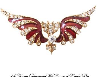 Antique 14K Diamond Enamel Flying Eagle Pin Krementz Antique Jewelry Brooch, Patriotic Jewelry