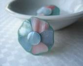 Shell Flower Earrings Pastel Plastic Medium Blue Clip on 1950's