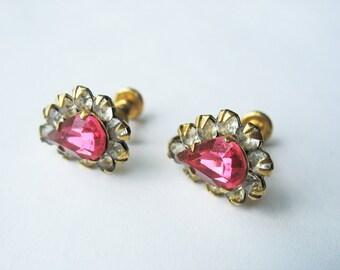 Pink Rhinestone Earrings 12K Gold Filled Screw Back Circa 1950