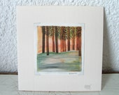 Art Card - Print of Original Watercolor - 4x4 Painting - Little woods