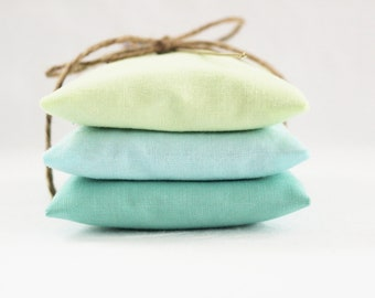 Blue Green Lavender Sachets, Modern Minimalist Beach Home Decor, Seaside Decor, Gift for Women