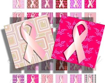 Pink Ribbon for 1x1 inch pendant, scrapbook and more collage sheet No.1008