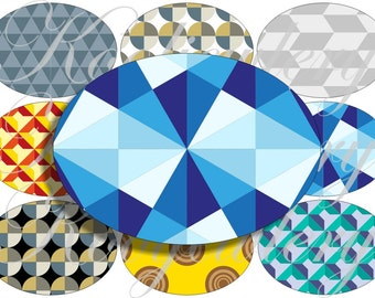 Geometric in large oval for belt buckle and more digital collage sheet No.1249