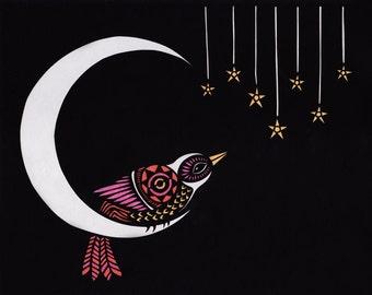 Moon Dweller - Cut Paper Art Print