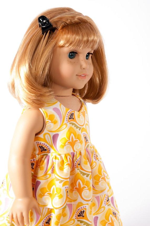 "American Girl Doll Clothes Trendy 18"" Inch Doll Clothing Modern Retro Peplum Dress Orange Yellow by PattiKuz"
