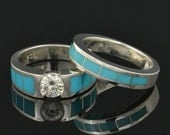 Turquoise engagement ring and wedding band set with Moissanite