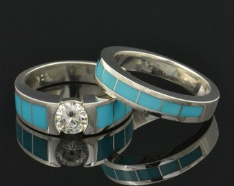 Turquoise Engagement Ring and Turquoise Wedding Band- Turquoise Bridal Set with Moissanite in Sterling Silver