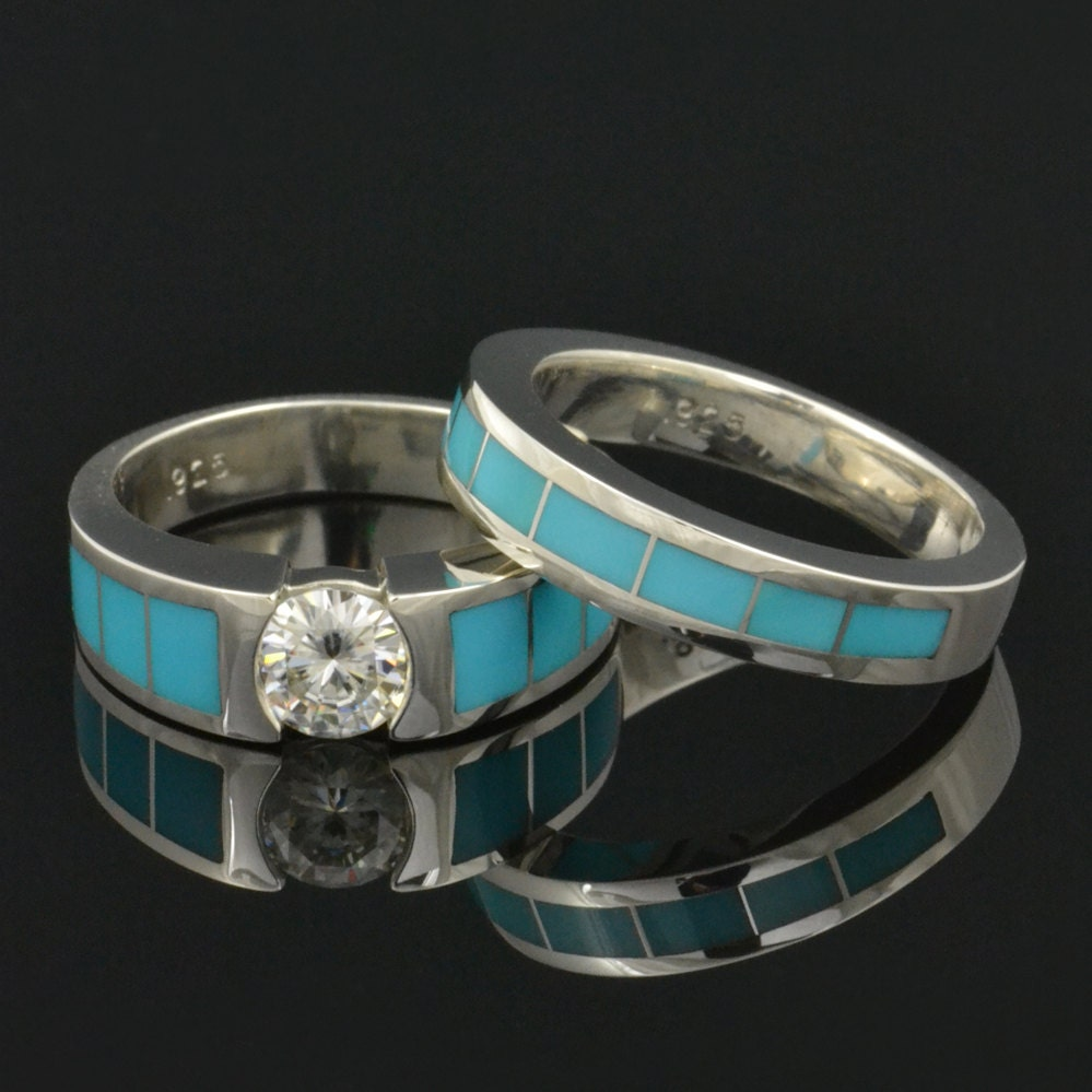 Turquoise engagement ring and turquoise wedding band for Wedding band and engagement ring set