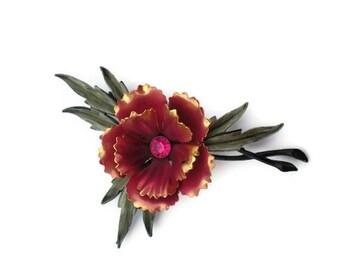 Vintage Pink Carnation Corsage Brooch