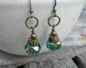Emerald Green Dangle Earrings Antique Bronze Leverback Earring Wires Handmade Jewelry