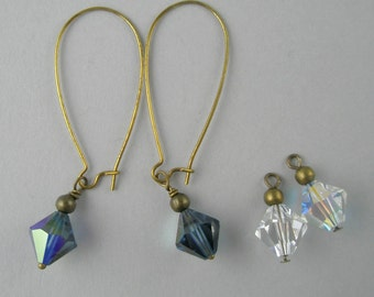 Dangle Earrings Interchangeable Midnight Blue Clear Swarovski Cyrstals Long Casual Jewelry Simple Antique Gold Metal Handmade Jewelry