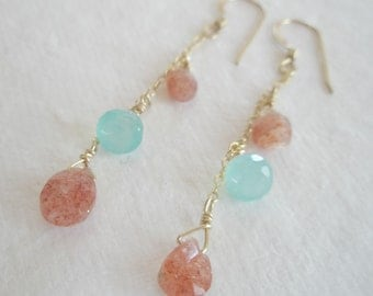 Delicate Gold Filled Dangle Earrings with Strawberry and Aqua Blue