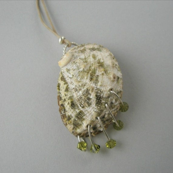 Sea Shell Necklace Pendant Waxed Cotton Cording Green Mossy Swarovski Crystals Sterling Silver Closure Handmade Jewelry