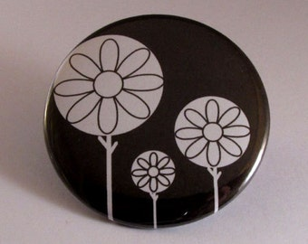 Black and white circle trees pocket mirror