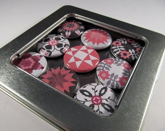 Quilt Magnet Set 1 / Refrigerator Magnets / Locker Magnets / Ready for Gift Giving / White, pink and black