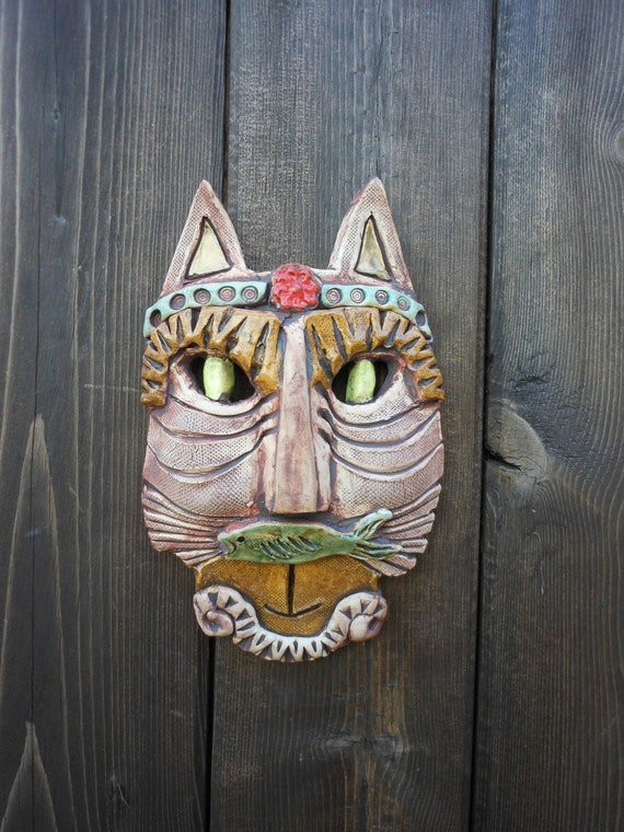 Reserved for Allison-Steampunk Kitty with Fish Mustache Ceramic Mask