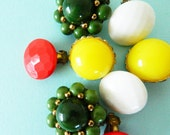 Instant Earring Collection/Mid Century Clip On Earrings/Bright Vintage Earring Set