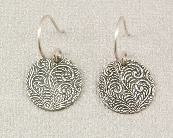 Silver disc earrings oxidized PMC fine silver dangle earrings fern print hand made gift for gardener nature jewelry under 40