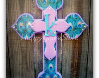 Wall CROSS - Wood Cross - Small - PEACOCK and Lavender with initial (or color of your choice)