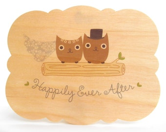 Mr & Mrs Hoot Owl Wood Wedding Congratulations Card - WC1335