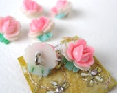 Vintage Button Flower Pink Roses Plastic Handpainted Shank Japan 11mm but0092 (6)
