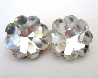 Vintage Rhinestone Crystal Clear Flower Jewel Glass Faceted 14mm gcb0622 (2)