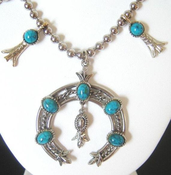 Vintage signed ART Squash Blossom Necklace style