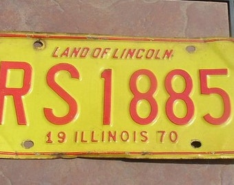 Illinois 1970 Land of Lincoln License Plate
