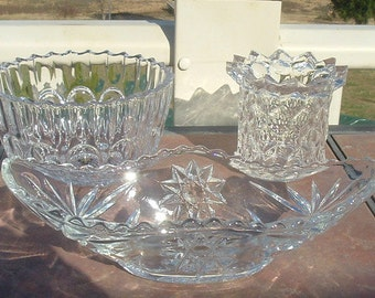 Group of 3 Clear Pressed Glass Bowls/Holders