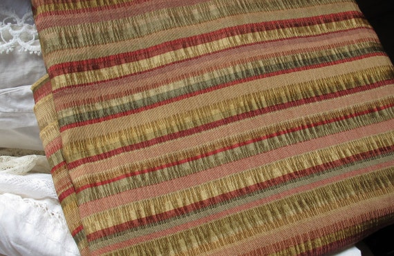 Silky Ruched Stripe Remnant, Drapery Upholstery Decorator Fabric, Reds, Golds, Greens, Two Yards