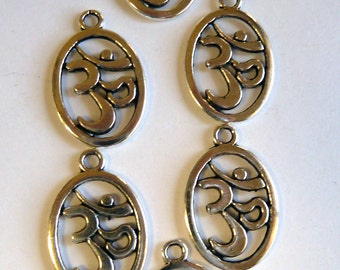 Om   Silver Plated Charms