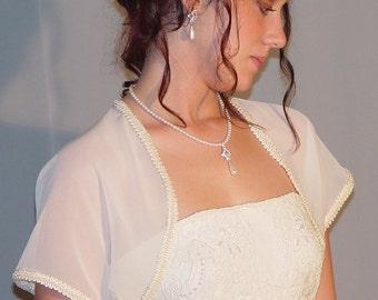 Ivory chiffon wedding bolero jacket bridal short sleeve trimmed