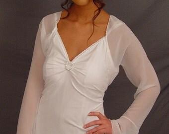 White chiffon bridal bolero jacket wedding shrug bell sleeve