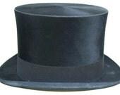 "23 1/2"" - Large Vintage Blaylock and Blynn Phildelphia Beaver Fur Mens Top Hat"