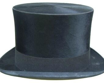 "23 1/4"" - Large Vintage Blaylock and Blynn Philadelphia Beaver Fur Mens Top Hat"