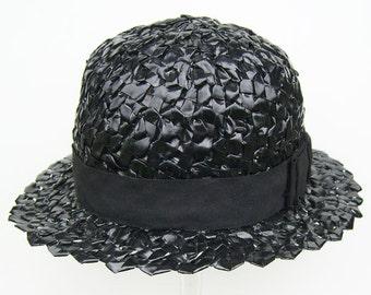 Vintage Flapper George Allen Inc. Womans Black Ribbon Hat