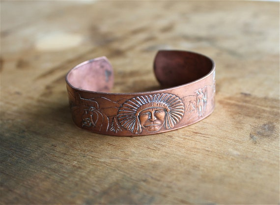 From the Mohawk Trail - Vintage Cuff - Vintage Copper Cuff Bracelet - Vintage Native American Cuff - Southwestern