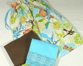 Laundry Bag for travel,  Hummingbird Garden, aqua, orange and lime drawstring storage