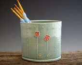 Oval Pencil Holder in Vintage Turquoise - Toothbrush Holder - Summer Rain - Flowers - by Dirtkicker Pottery
