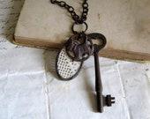 Past Defined Crochet Lace Skeleton Key Scottie Charm Necklace