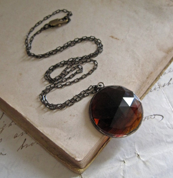 Geometry Faceted Glass Necklace Coffee Brown Geometric Jewelry