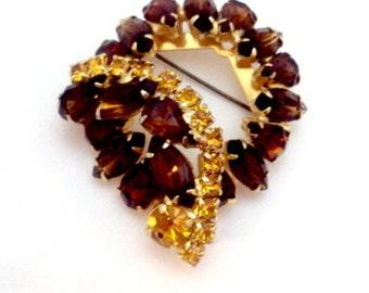 Cognac, Golden Topaz Vintage Rhinestone Pin