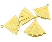 6 - Raw Brass Art Deco Fan Shape Layered Charms