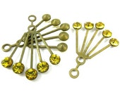 2 - RARE Vintage Art Deco Style Brass Dangle Finding with Swarovski Crystals Ear Jackets - Yellow Lime - 30x21mm