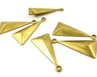 8 - Raw Brass Triangle Pyramid Geometric Charms